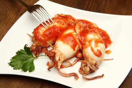 Calamars aux piments et tomates