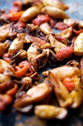 Calamars sautés aux piments et tomates