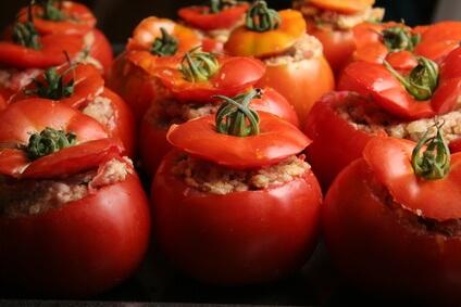Tomates farcies aux cèpes
